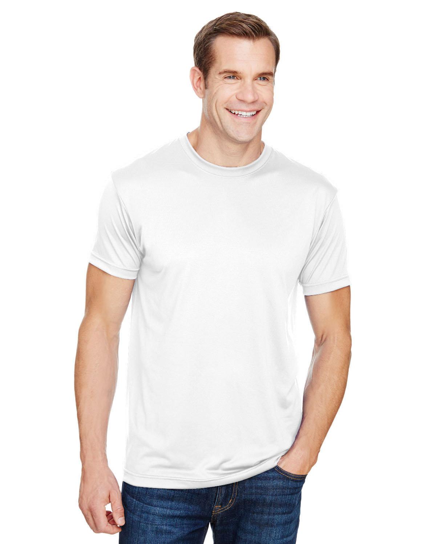 Bayside Unisex 4.5 oz., Polyester Performance T-Shirt WHITE