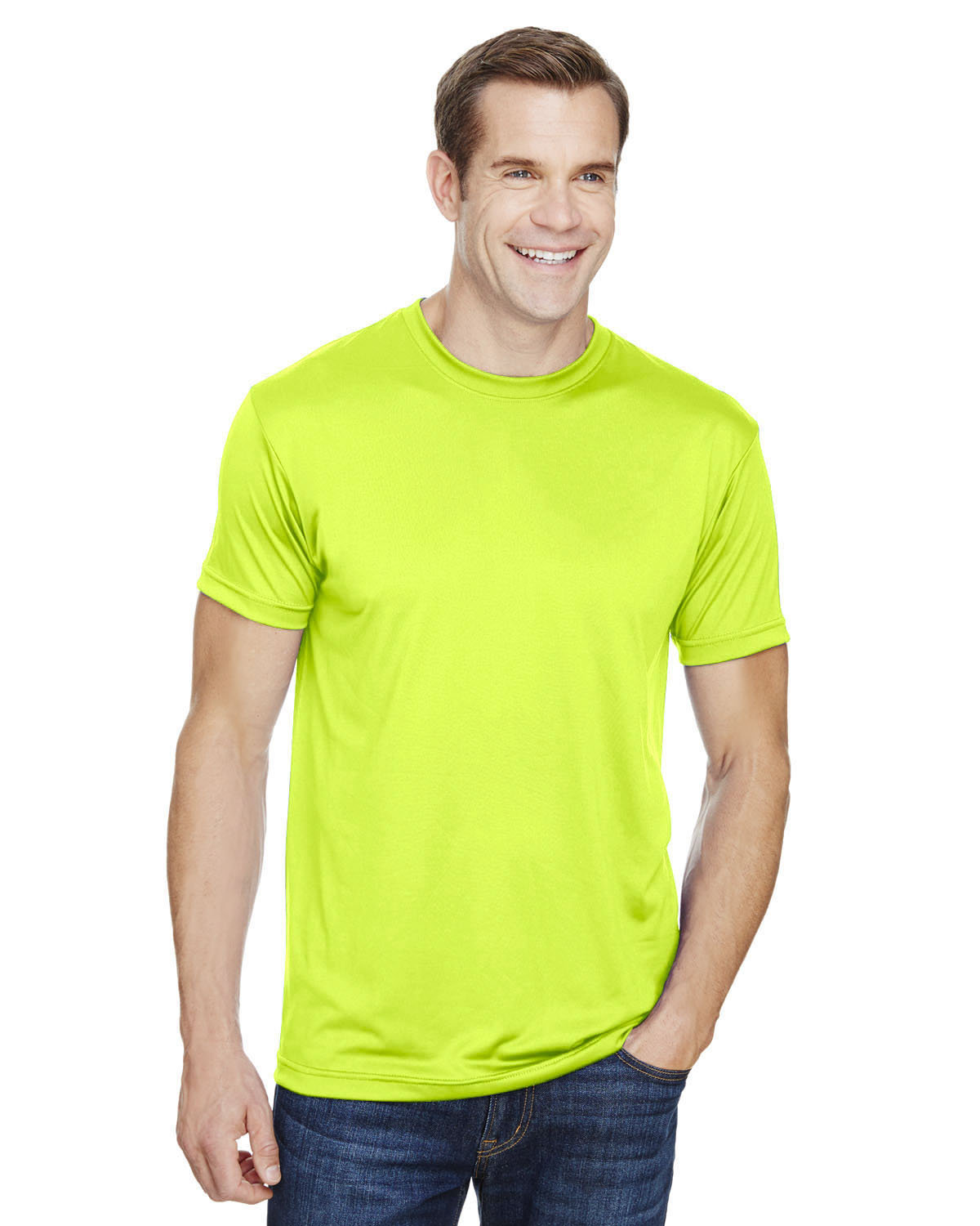 Bayside Unisex 4.5 oz., Polyester Performance T-Shirt LIME GREEN