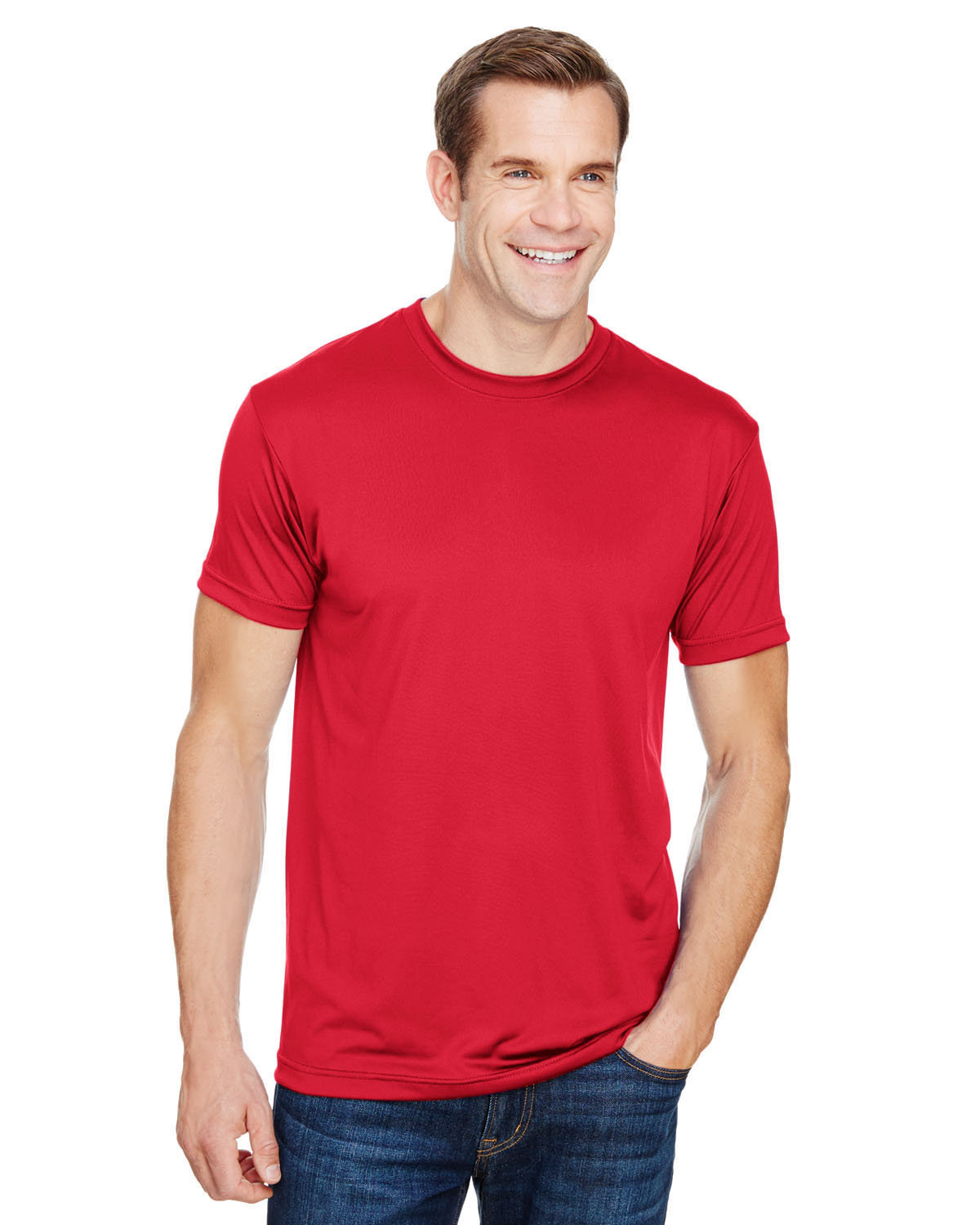 Bayside Unisex 4.5 oz., Polyester Performance T-Shirt RED
