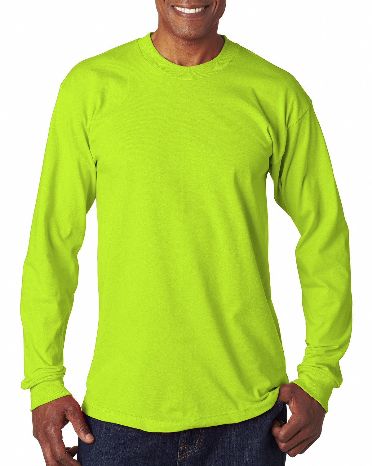 Bayside Adult 6.1 oz., 100% Cotton Long Sleeve T-Shirt LIME GREEN