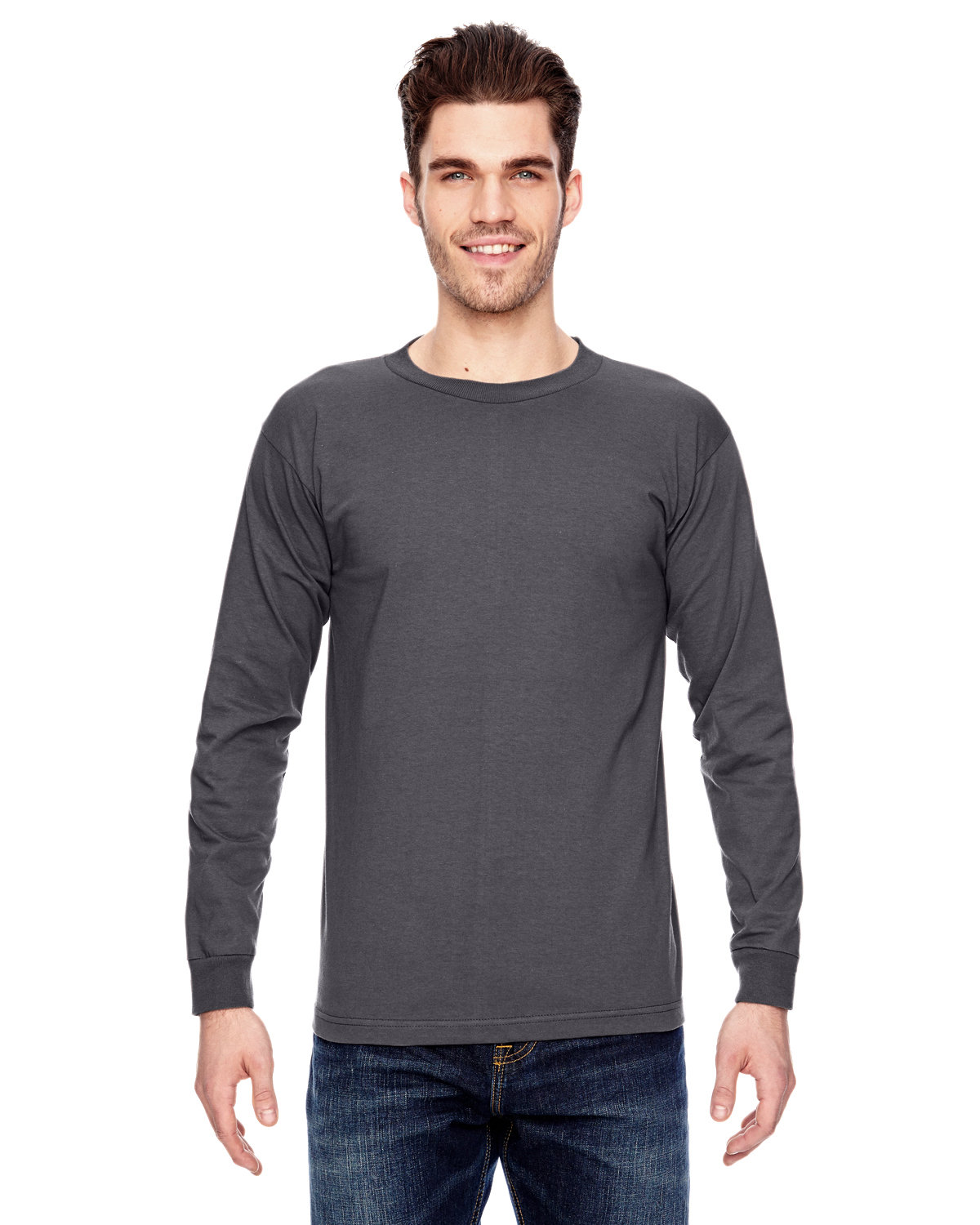 Bayside Adult 6.1 oz., 100% Cotton Long Sleeve T-Shirt CHARCOAL