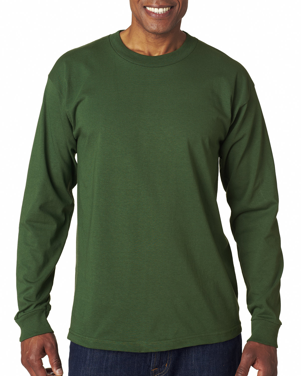 Bayside Adult 6.1 oz., 100% Cotton Long Sleeve T-Shirt FOREST GREEN
