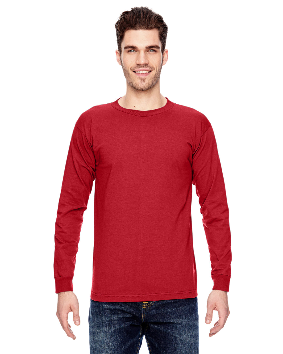 Bayside Adult 6.1 oz., 100% Cotton Long Sleeve T-Shirt RED