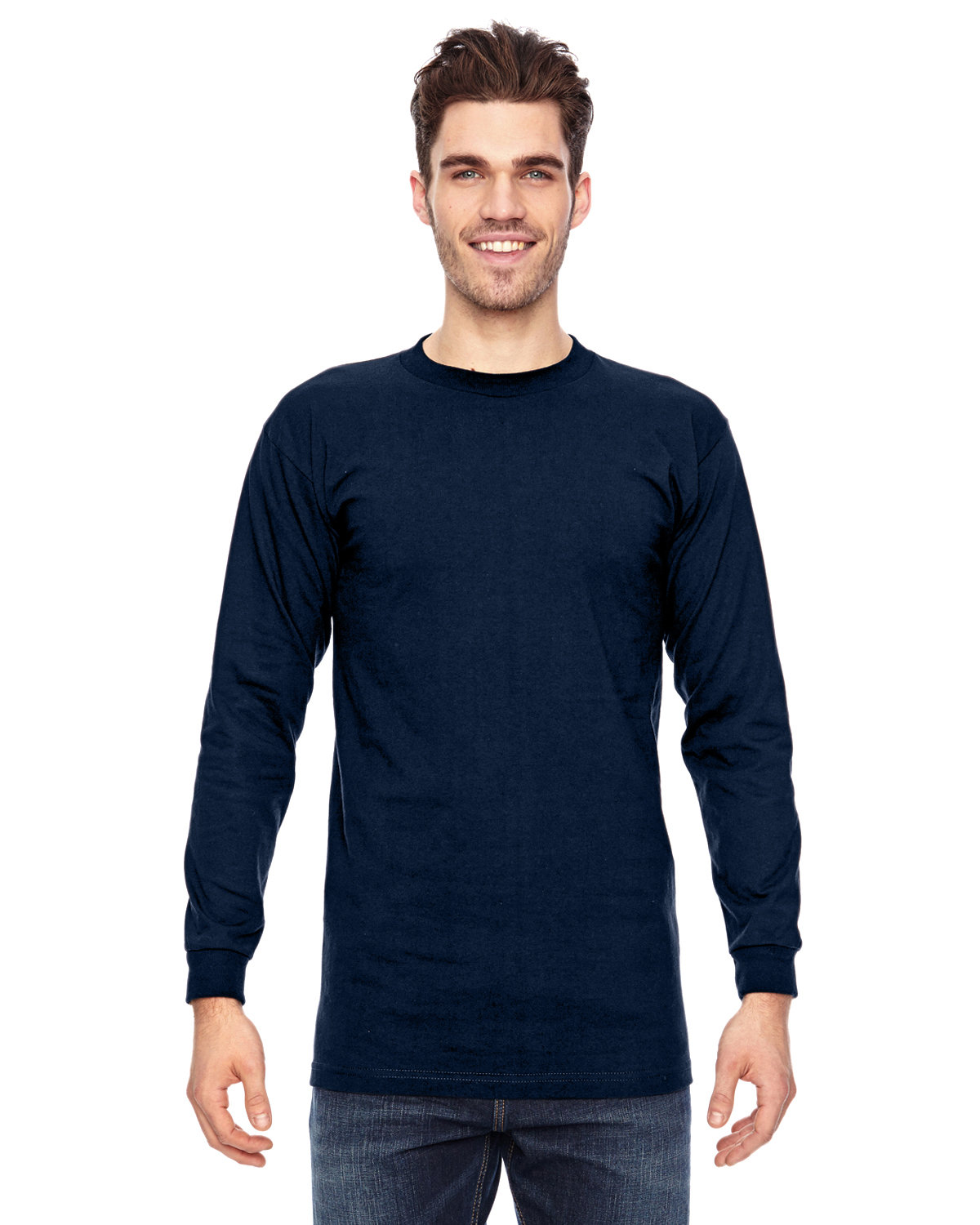 Bayside Adult 6.1 oz., 100% Cotton Long Sleeve T-Shirt NAVY