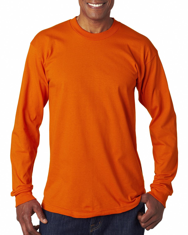 Bayside Adult 6.1 oz., 100% Cotton Long Sleeve T-Shirt BRIGHT ORANGE