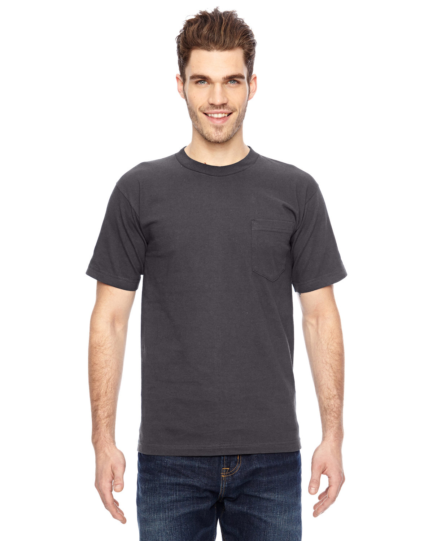Bayside Adult 6.1 oz., 100% Cotton Pocket T-Shirt CHARCOAL