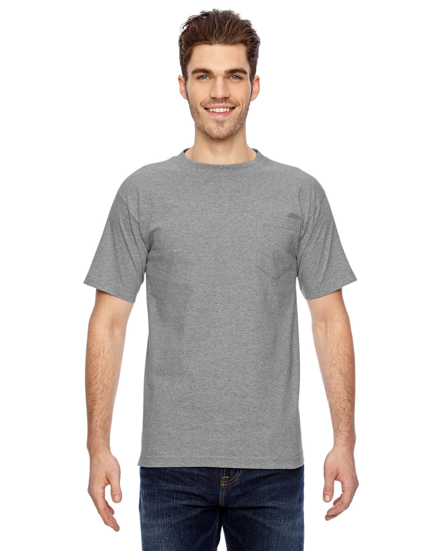 Bayside Adult 6.1 oz., 100% Cotton Pocket T-Shirt DARK ASH