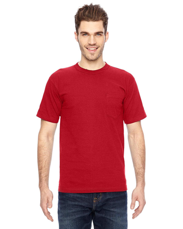 Bayside Adult 6.1 oz., 100% Cotton Pocket T-Shirt RED