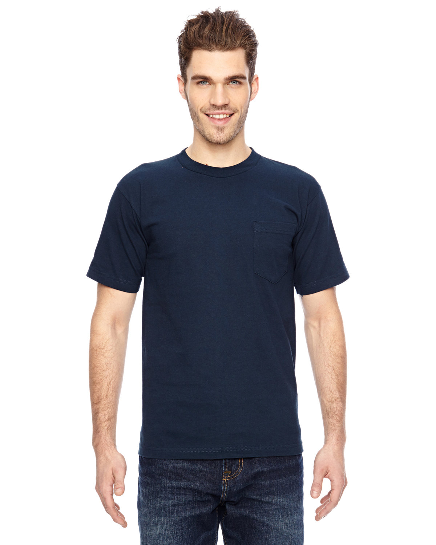 Bayside Adult 6.1 oz., 100% Cotton Pocket T-Shirt NAVY