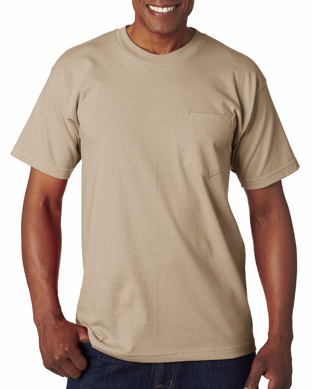 Bayside Adult 6.1 oz., 100% Cotton Pocket T-Shirt SAND