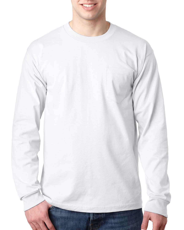 Bayside Adult 6.1 oz., 100% Cotton Long Sleeve Pocket T-Shirt WHITE