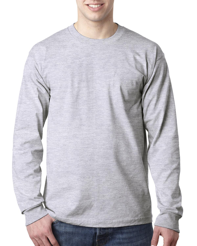 Bayside Adult 6.1 oz., 100% Cotton Long Sleeve Pocket T-Shirt ASH