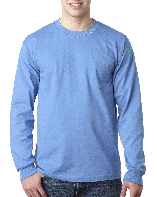 Bayside Adult 6.1 oz., 100% Cotton Long Sleeve Pocket T-Shirt CAROLINA BLUE