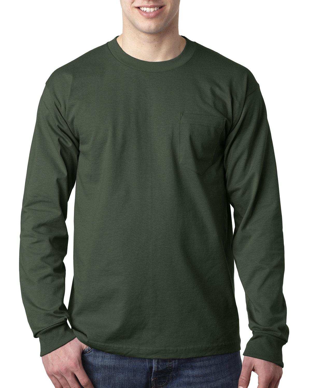 Bayside Adult 6.1 oz., 100% Cotton Long Sleeve Pocket T-Shirt FOREST GREEN