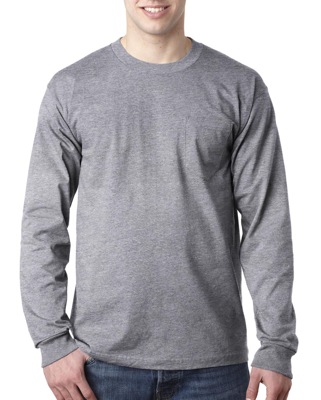 Bayside Adult 6.1 oz., 100% Cotton Long Sleeve Pocket T-Shirt DARK ASH
