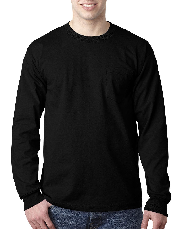 Bayside Adult 6.1 oz., 100% Cotton Long Sleeve Pocket T-Shirt BLACK