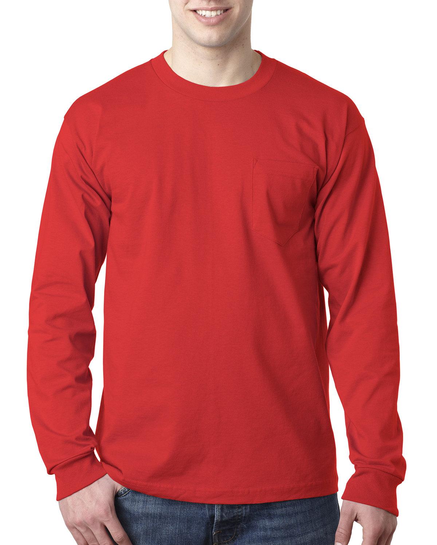 Bayside Adult 6.1 oz., 100% Cotton Long Sleeve Pocket T-Shirt RED
