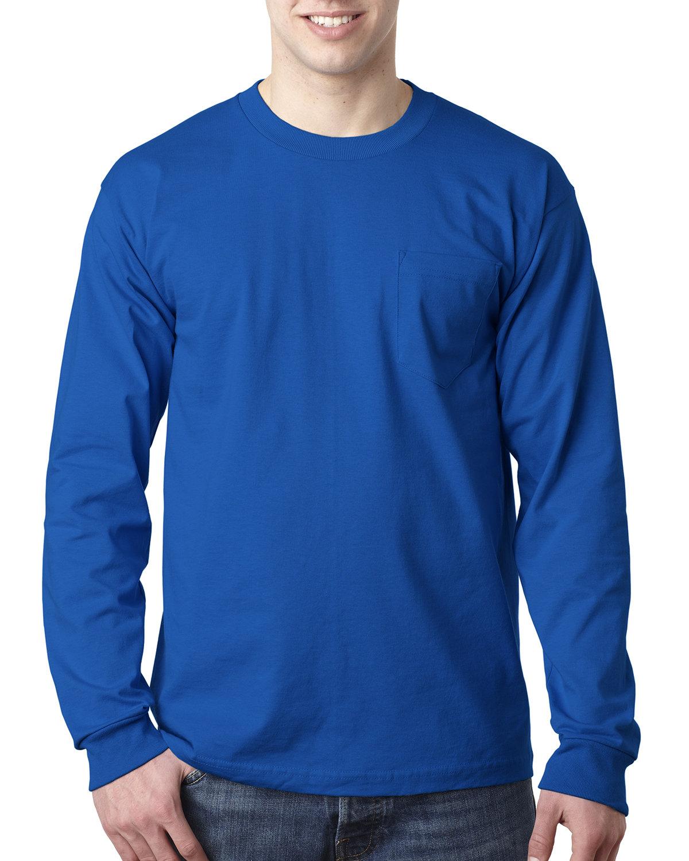 Bayside Adult 6.1 oz., 100% Cotton Long Sleeve Pocket T-Shirt ROYAL BLUE
