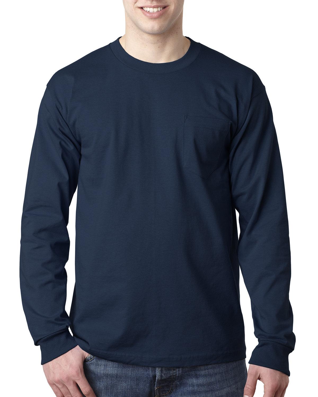 Bayside Adult 6.1 oz., 100% Cotton Long Sleeve Pocket T-Shirt NAVY