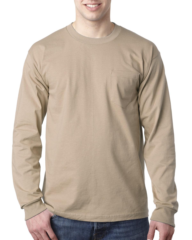 Bayside Adult 6.1 oz., 100% Cotton Long Sleeve Pocket T-Shirt SAND