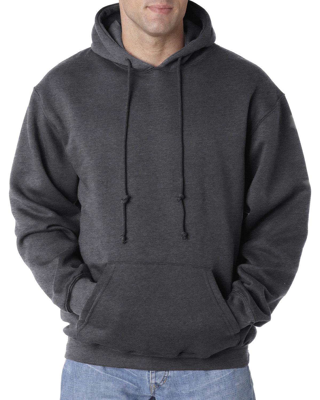 Bayside Adult 9.5 oz., 80/20 Pullover Hooded Sweatshirt CHARCOAL HTHR