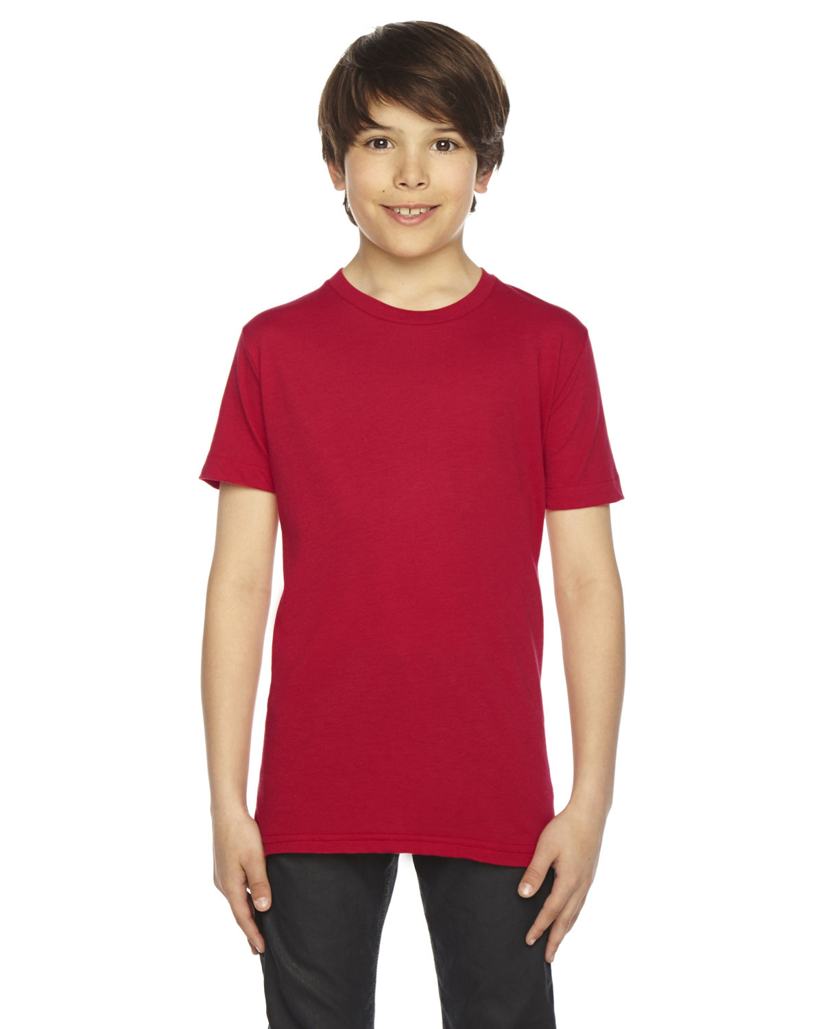 American Apparel Youth Poly-Cotton Short-Sleeve Crewneck RED