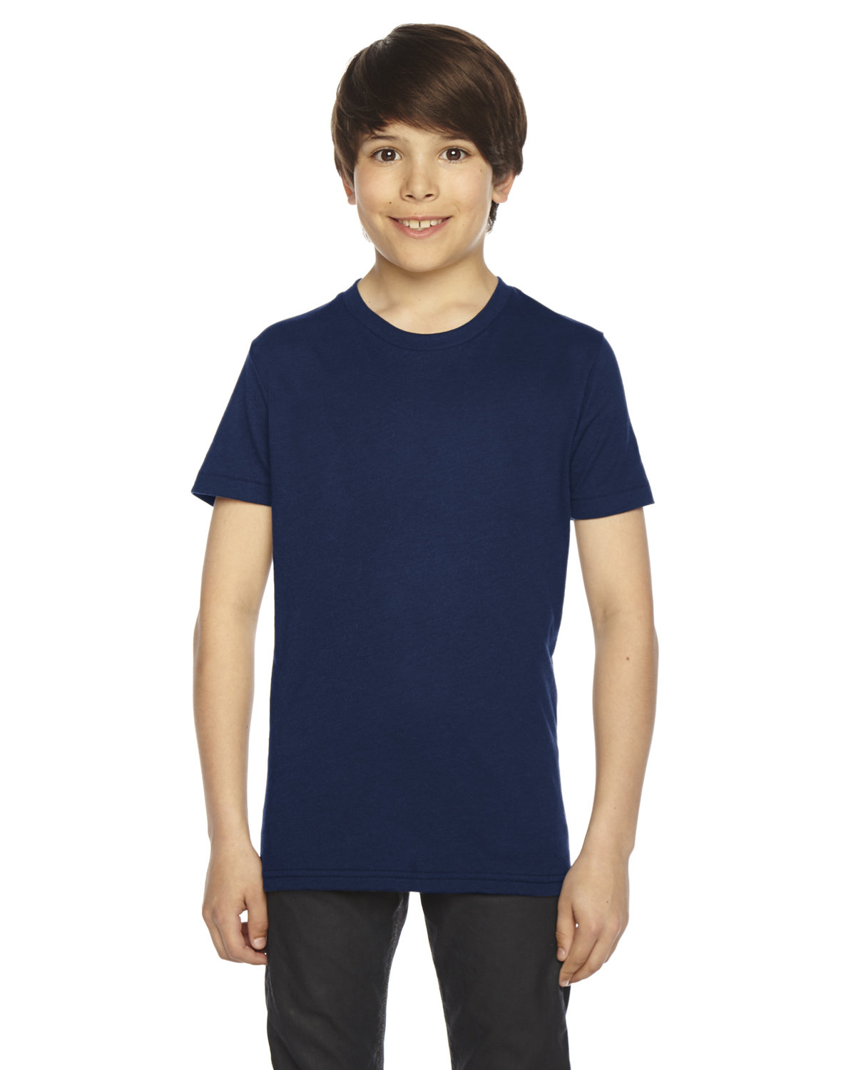 American Apparel Youth Poly-Cotton Short-Sleeve Crewneck NAVY