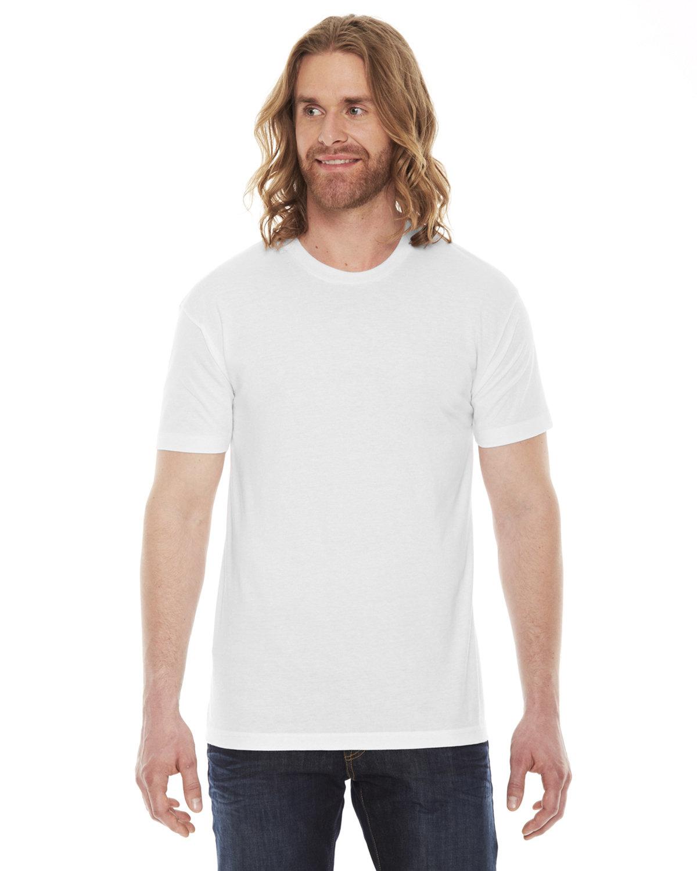 American Apparel Unisex Poly-Cotton USAMade Crewneck T-Shirt WHITE