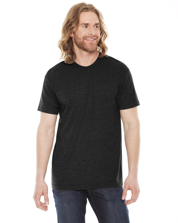American Apparel Unisex Poly-Cotton USAMade Crewneck T-Shirt HEATHER BLACK