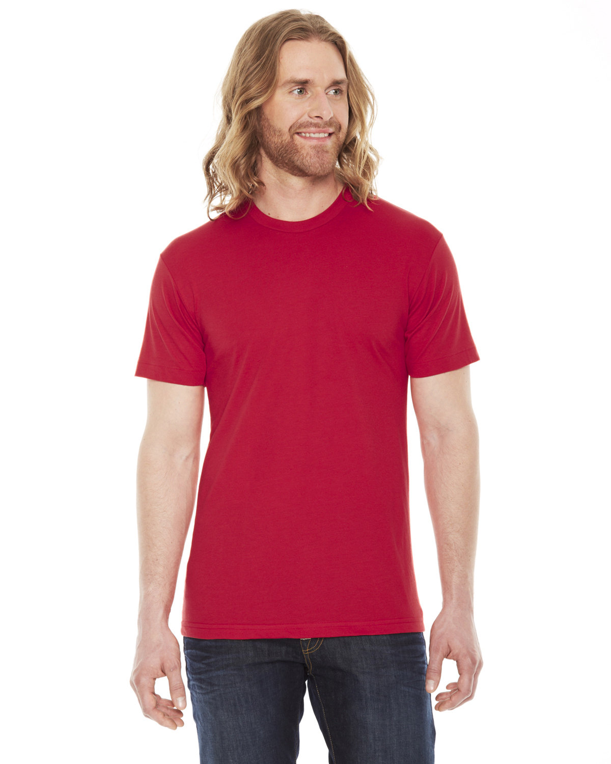 American Apparel Unisex Poly-Cotton USAMade Crewneck T-Shirt RED