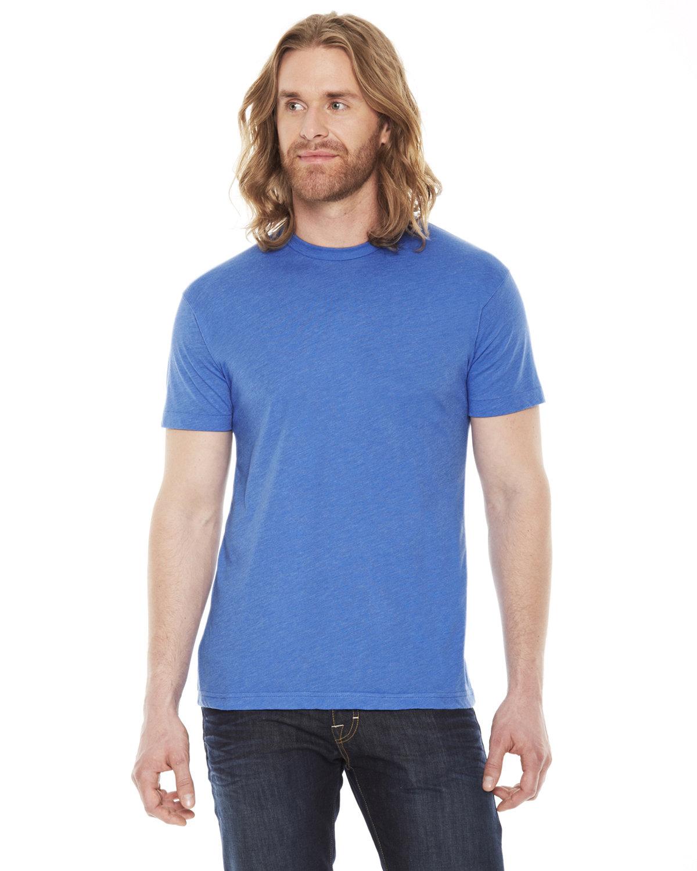 American Apparel Unisex Poly-Cotton USAMade Crewneck T-Shirt HTHR LAKE BLUE