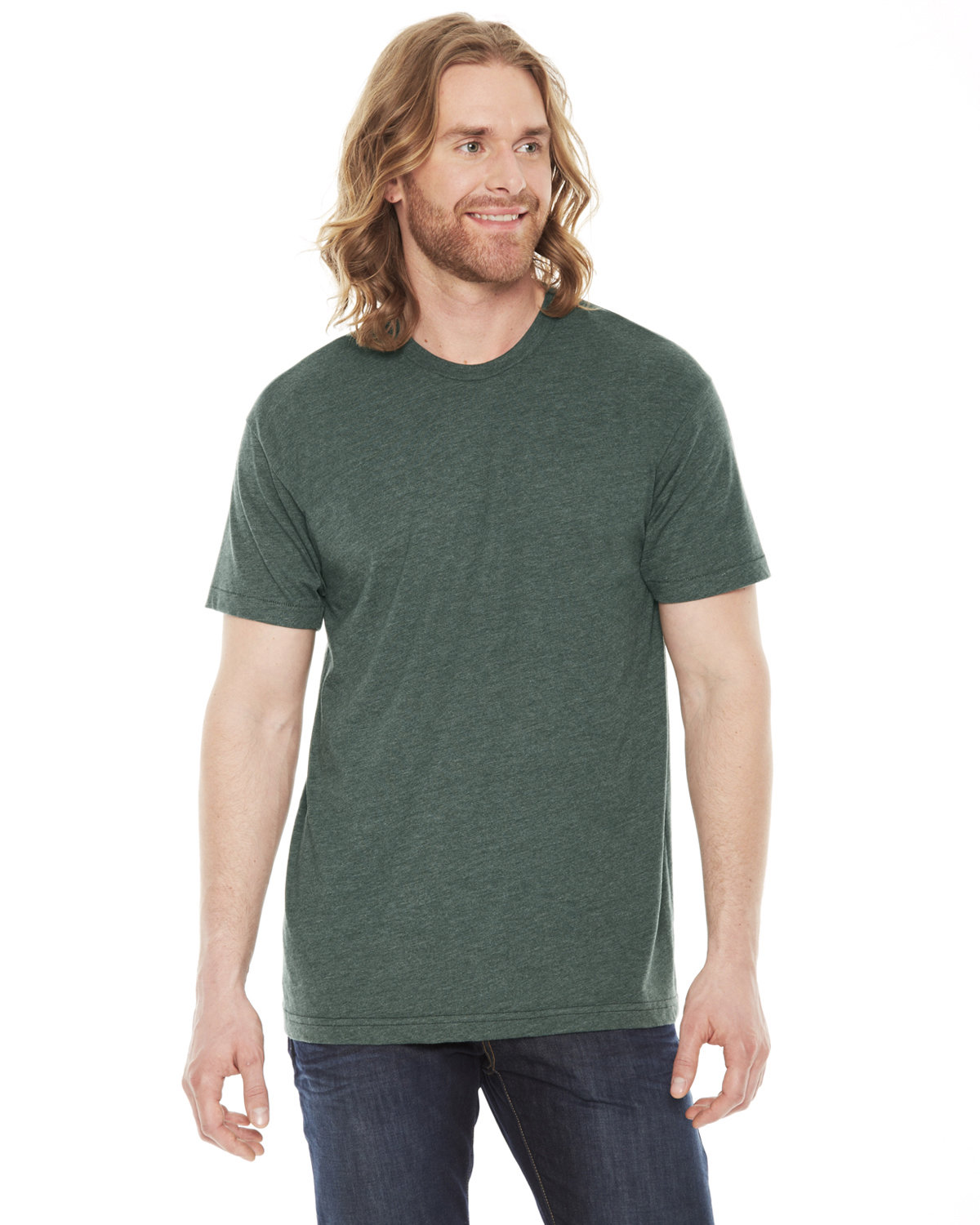 American Apparel Unisex Poly-Cotton USAMade Crewneck T-Shirt HEATHER FOREST