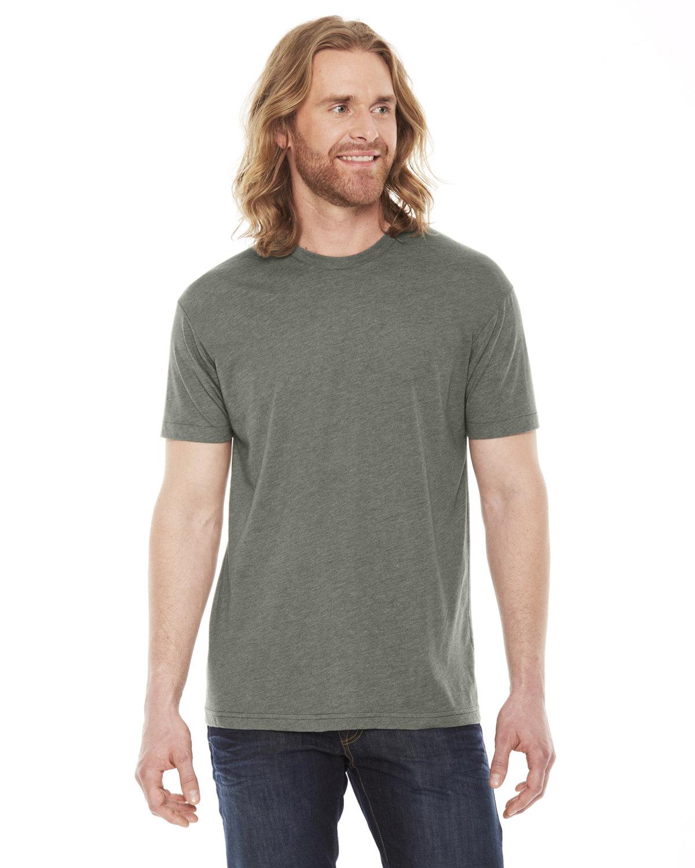 American Apparel Unisex Poly-Cotton USAMade Crewneck T-Shirt HTHR LIEUTENANT