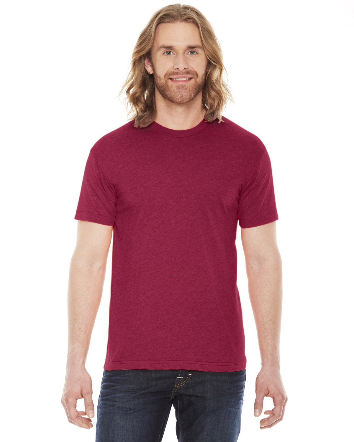 American Apparel Unisex Poly-Cotton USAMade Crewneck T-Shirt HEATHER RED