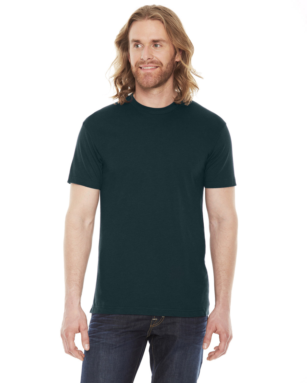 American Apparel Unisex Poly-Cotton Short-Sleeve Crewneck BLACK AQUA