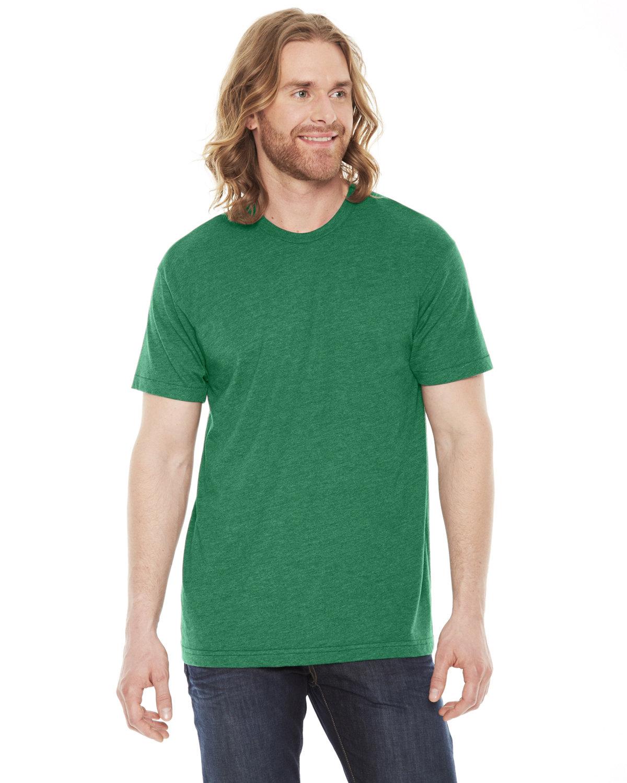 American Apparel Unisex Poly-Cotton Short-Sleeve Crewneck HTHR VINT GREEN