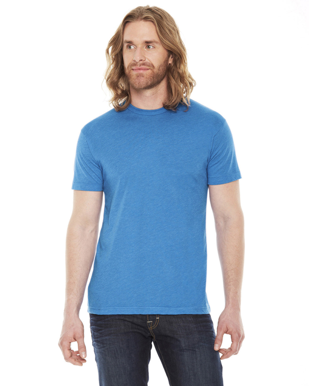 American Apparel Unisex Poly-Cotton Short-Sleeve Crewneck NEON HTHR BLUE
