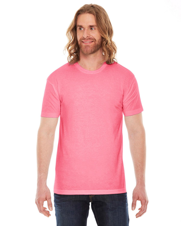 American Apparel Unisex Poly-Cotton Short-Sleeve Crewneck NEON HTHR PINK