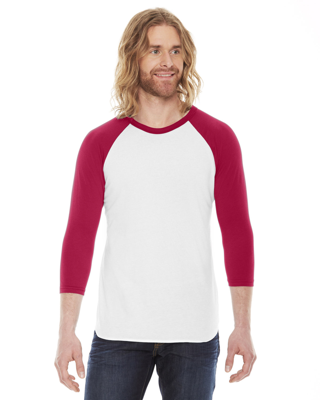 American Apparel Unisex Poly-Cotton USA Made 3/4-Sleeve Raglan T-Shirt WHITE/ RED
