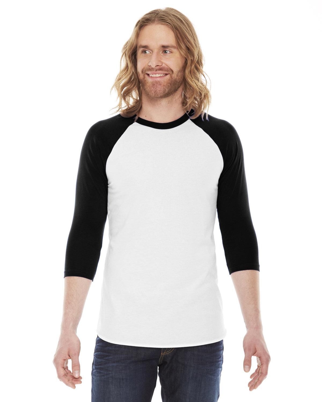 American Apparel Unisex Poly-Cotton USA Made 3/4-Sleeve Raglan T-Shirt WHITE/ BLACK