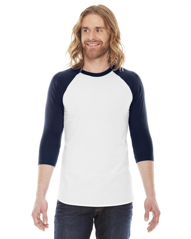 American Apparel Unisex Poly-Cotton USA Made 3/4-Sleeve Raglan T-Shirt WHITE/ NAVY
