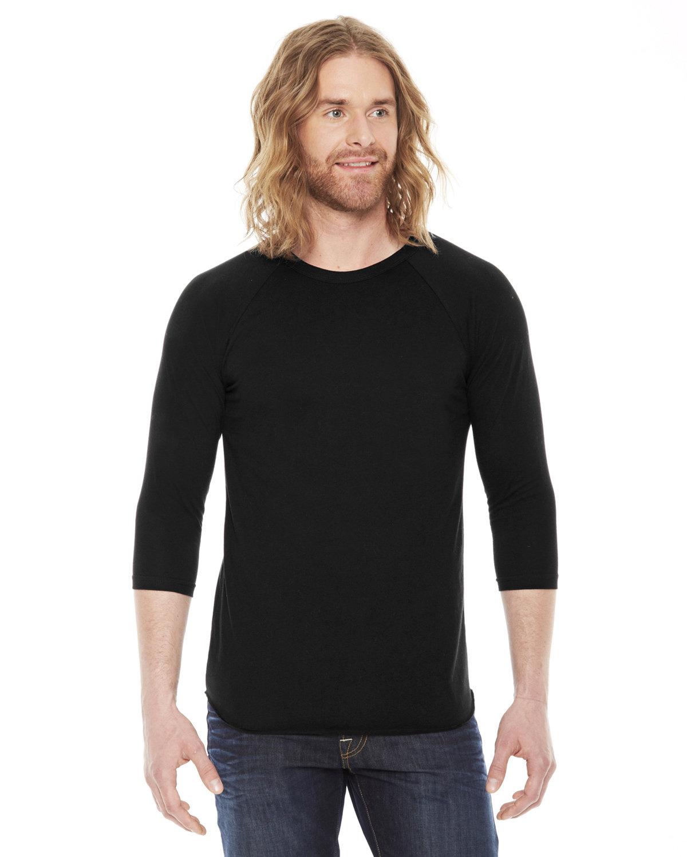 American Apparel Unisex Poly-Cotton USA Made 3/4-Sleeve Raglan T-Shirt BLACK