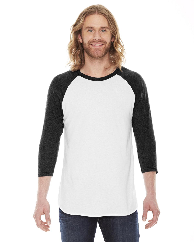 American Apparel Unisex Poly-Cotton USA Made 3/4-Sleeve Raglan T-Shirt WHITE/ HTH BLACK