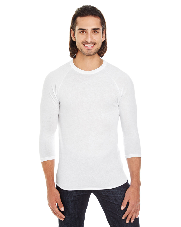 American Apparel Unisex Poly-Cotton 3/4-Sleeve Raglan T-Shirt WHITE
