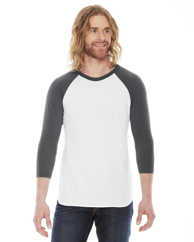 American Apparel Unisex Poly-Cotton 3/4-Sleeve Raglan T-Shirt WHITE/ ASPHALT