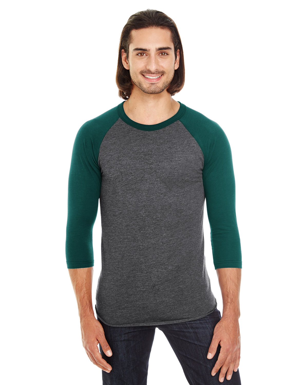 American Apparel Unisex Poly-Cotton 3/4-Sleeve Raglan T-Shirt HTH BLK/ FOREST