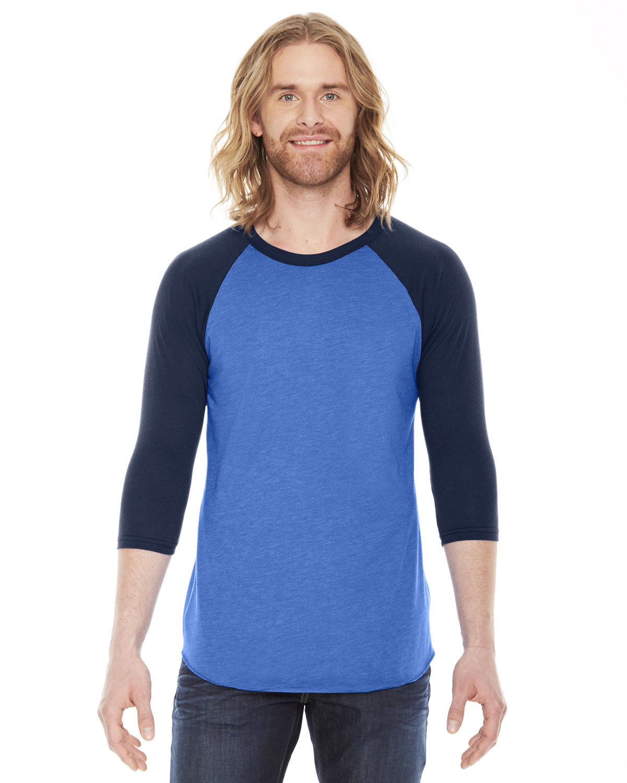 American Apparel Unisex Poly-Cotton 3/4-Sleeve Raglan T-Shirt HTH LK BLUE/ NVY