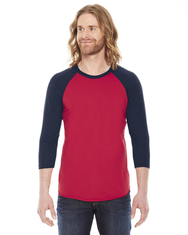 American Apparel Unisex Poly-Cotton 3/4-Sleeve Raglan T-Shirt RED/ NAVY