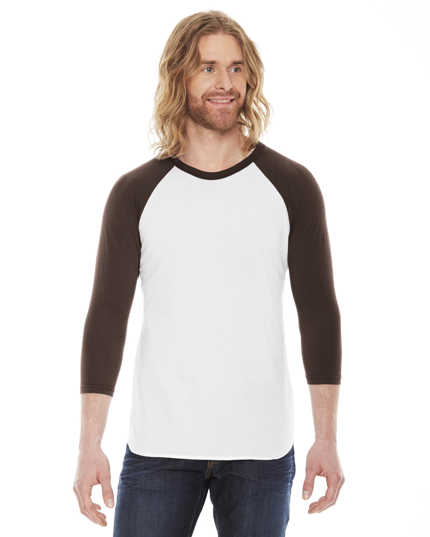 American Apparel Unisex Poly-Cotton 3/4-Sleeve Raglan T-Shirt WHITE/ BROWN