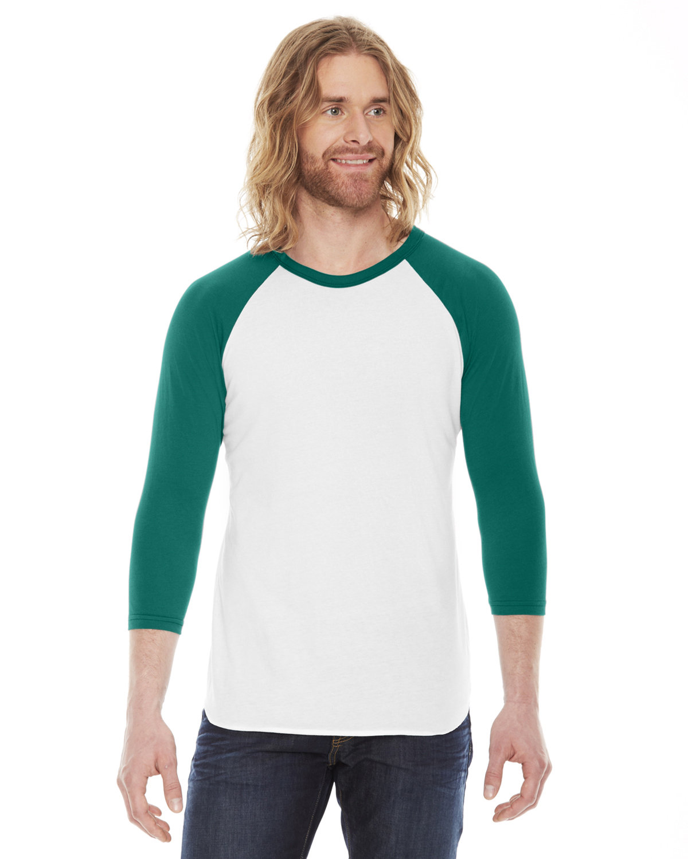 American Apparel Unisex Poly-Cotton 3/4-Sleeve Raglan T-Shirt WHITE/ EVERGREEN
